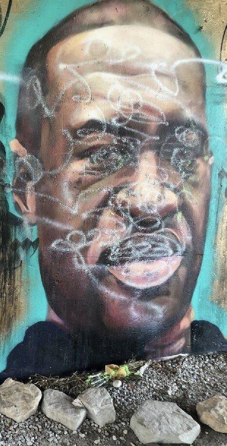 Vandalized Floyd Mural