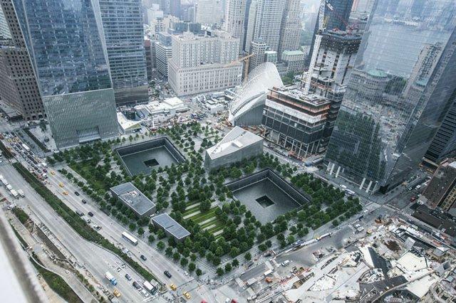 9/11 memorial aerial