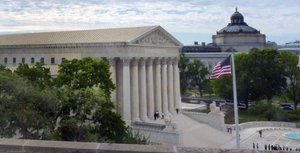 The U.S. Supreme Court as seen from the United Methodist Building in Washington, D.C.