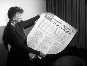 Eleanor Roosevelt was key to the adoption of the United Nations' Universal Declaration of Human Rights.