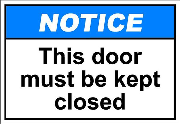 Closed door sign