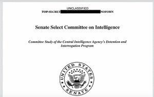 The now-unclassified cover of the CIA Torture Report.