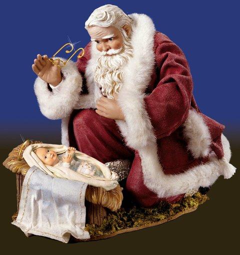santa kneeling to jesus - Jesus Santa