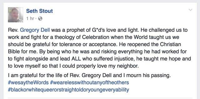 Seth Stout FB Post