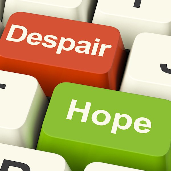 Despair Or Hope Computer Keys Showing Hopeful or Hopeless
