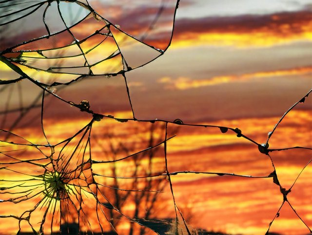 Cracked Window Sunrise
