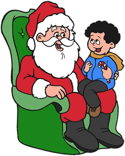 Kid on Santa's lap