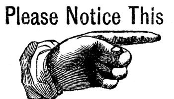 Vintage Hand Notice