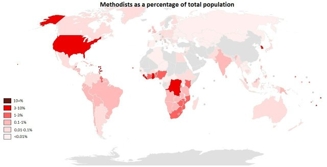 Methodists as Percent Population