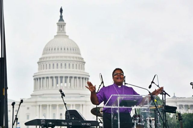 Bishop LaTrelle at anti-racist rally