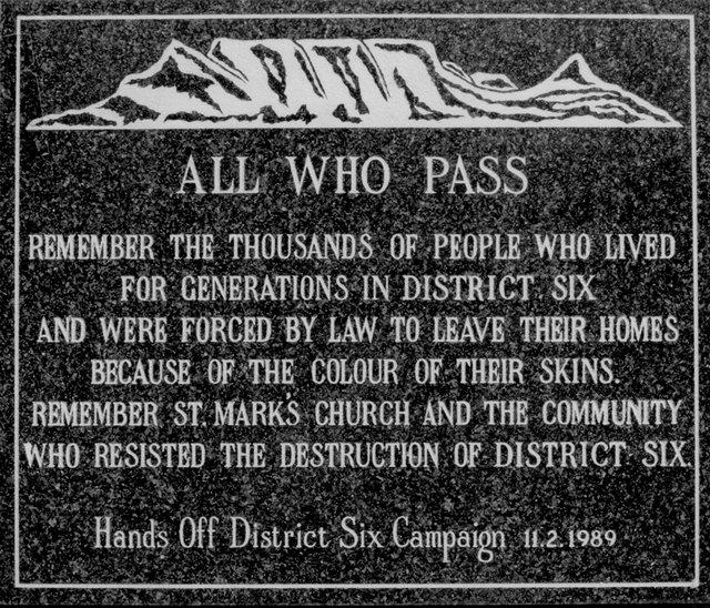 District Six Memory Plaque