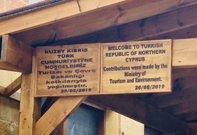 Cyprus border sign