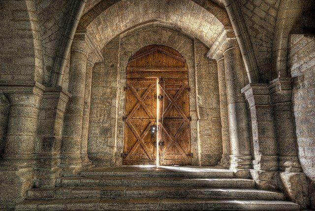 Church doors ajar