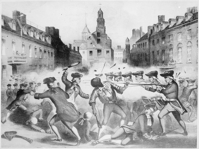 Spanish caption Boston Massacre