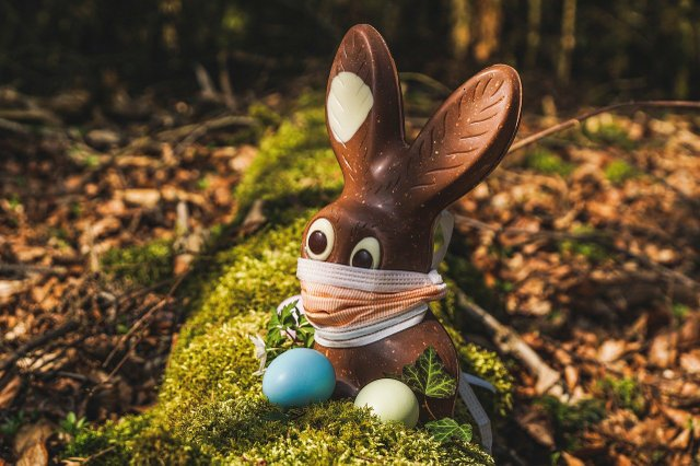 Masked Easter bunny