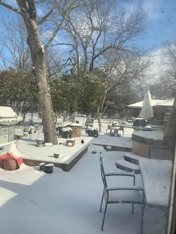 Snow covered patio